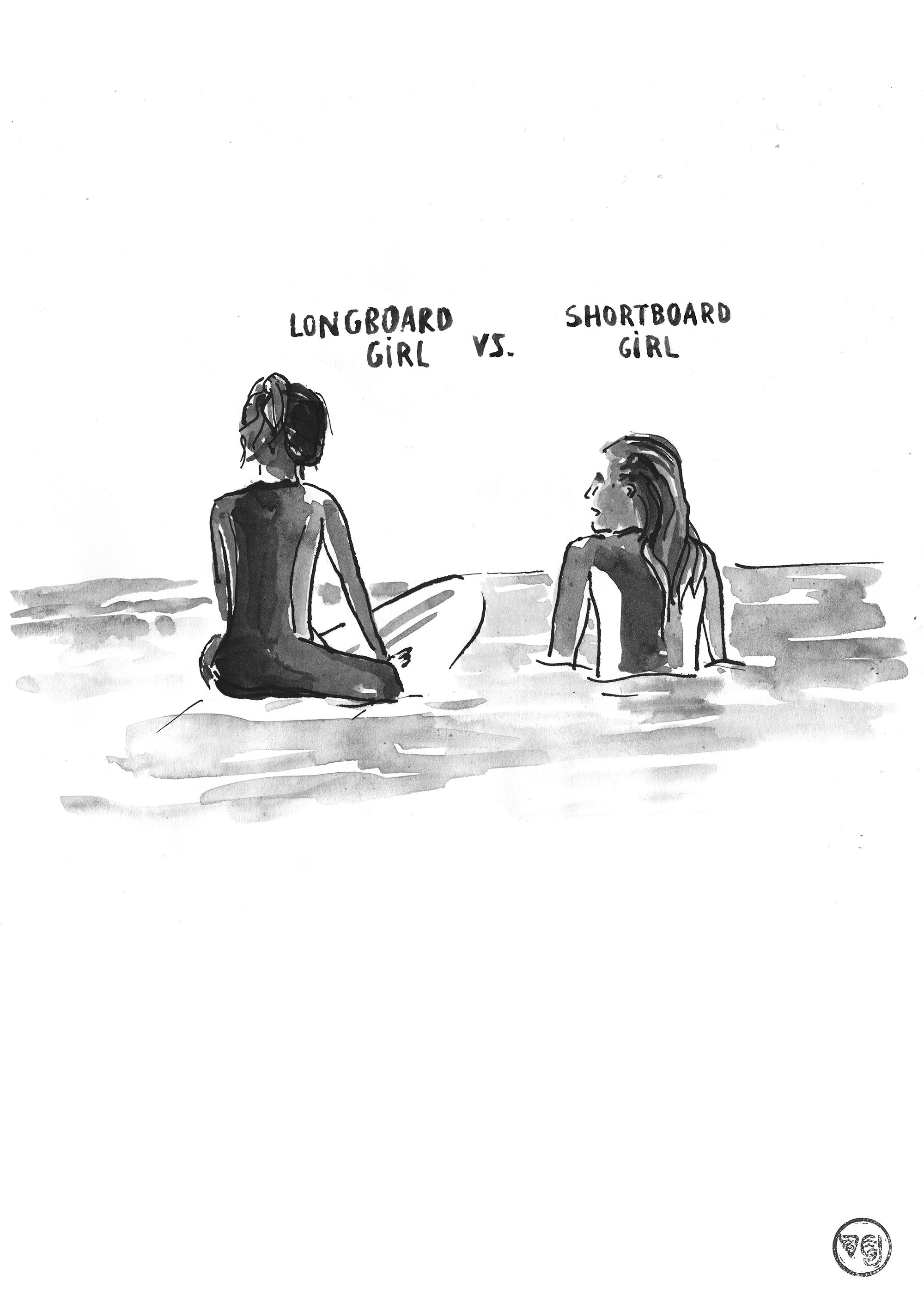 longboard-girl-vs-shortboard-girl-49x69-n&b