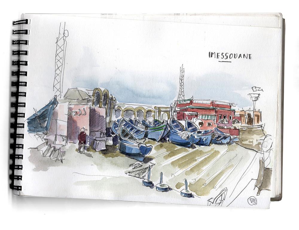 port-imessouane-dessin-vague-graphique-maroc