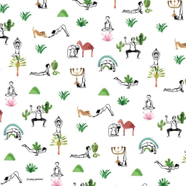 papier peint motif yoga lifestyle créateur