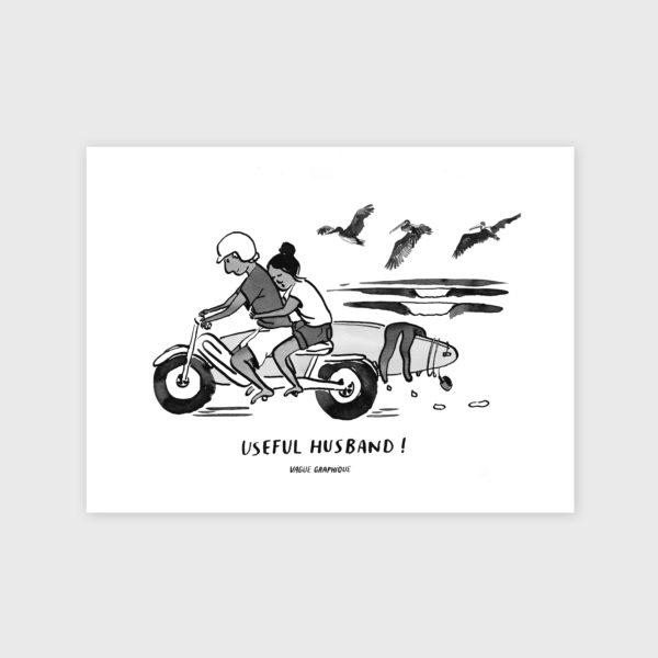 Tirage d'un couple sur une moto, revenant d'un session de surf